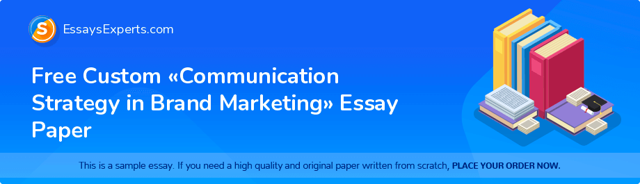 Free Essay Sample «Communication Strategy in Brand Marketing»