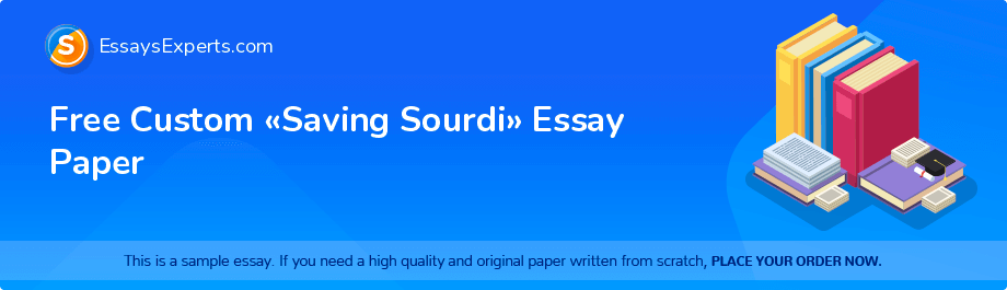 Free Custom «Saving Sourdi» Essay Paper