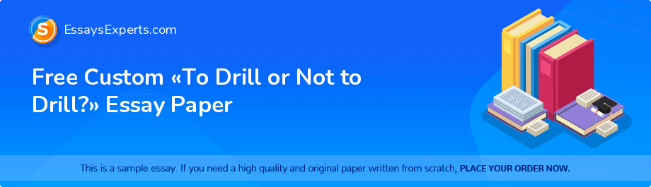 Free Essay Sample «To Drill or Not to Drill?»
